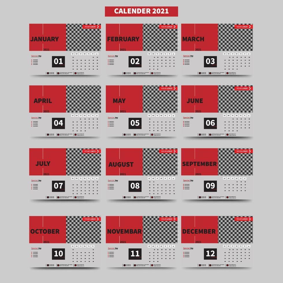 Calendar 2021 set with 12 months vector