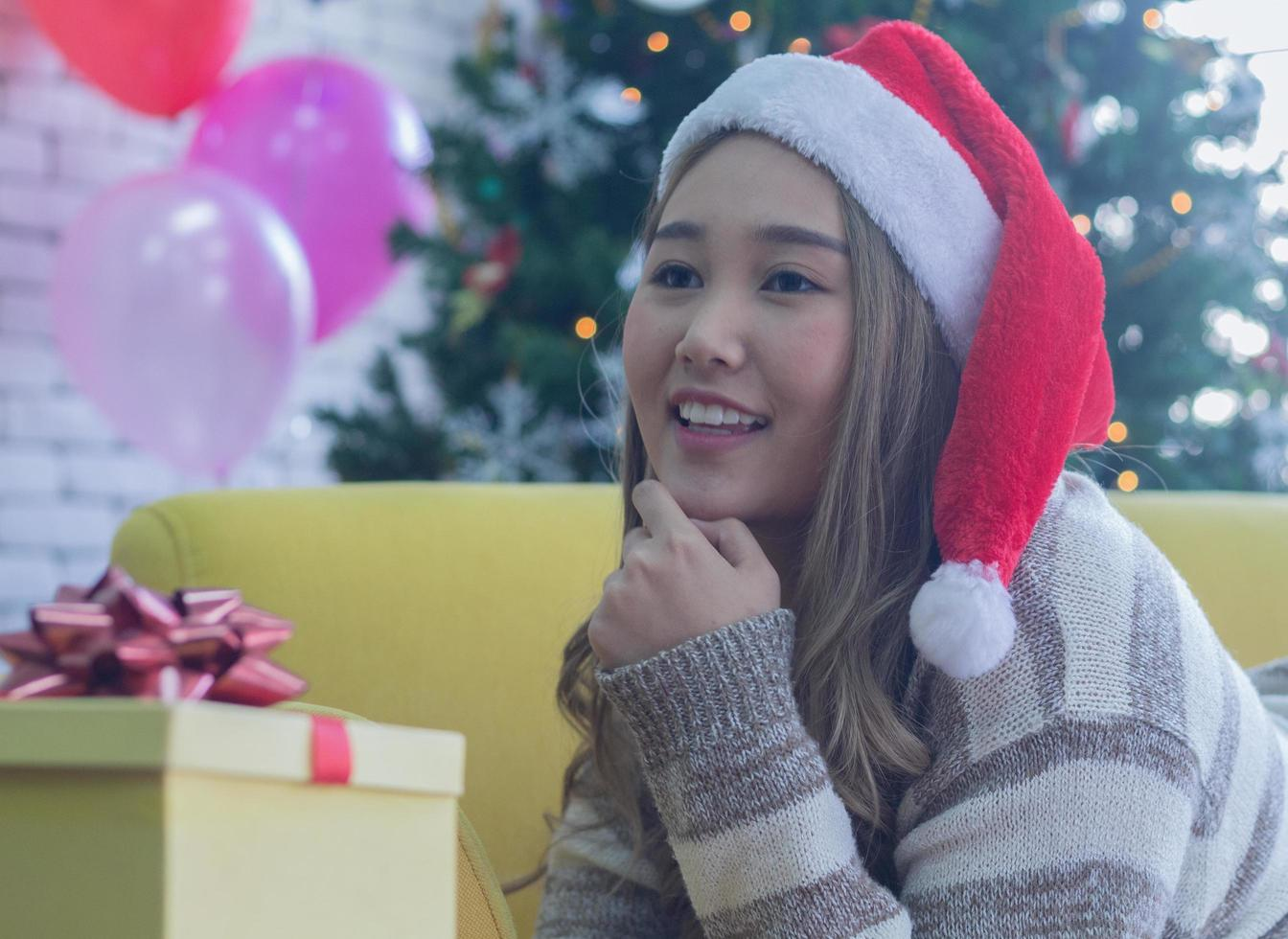 Woman with Christmas present photo