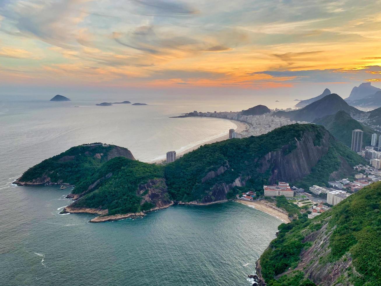 Sunset over the ocean at Rio de Janeiro photo