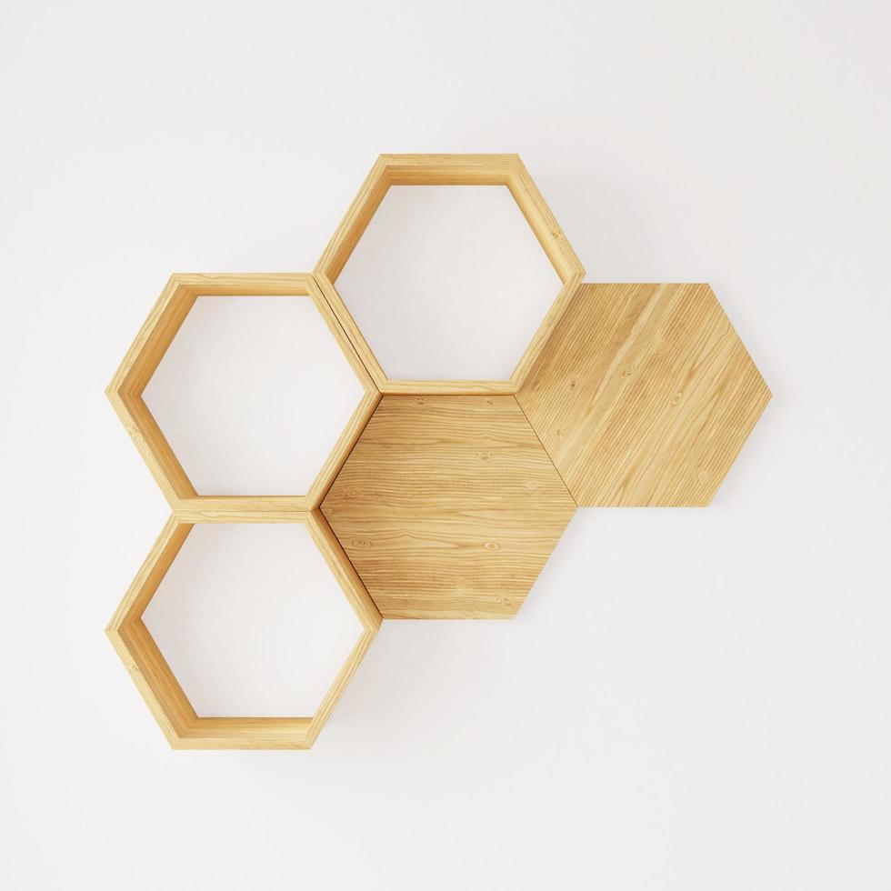 Hexagon wooden shelf  photo