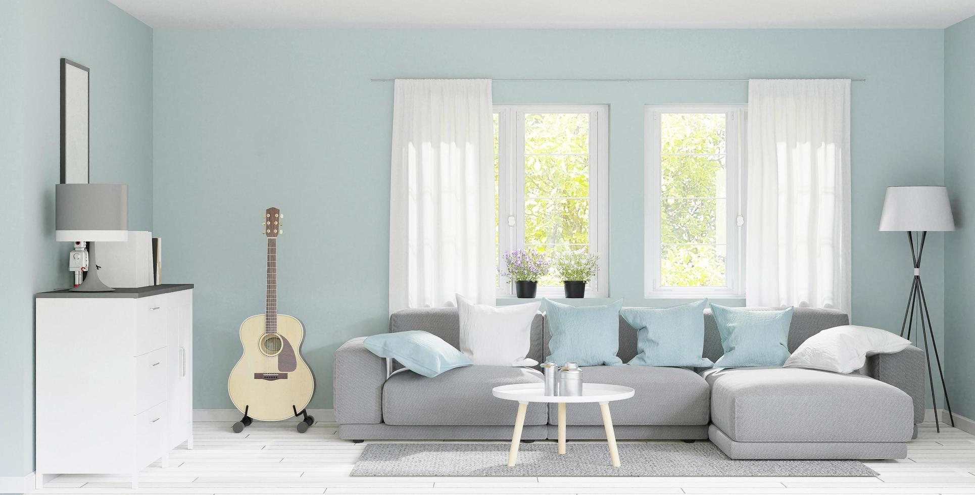 Modern big living room rendering photo