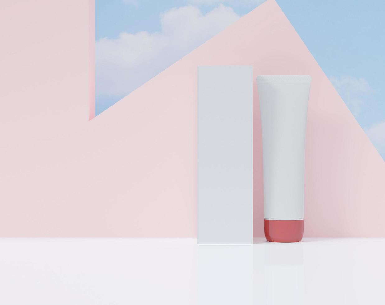 3D box and tube on a pink design background photo