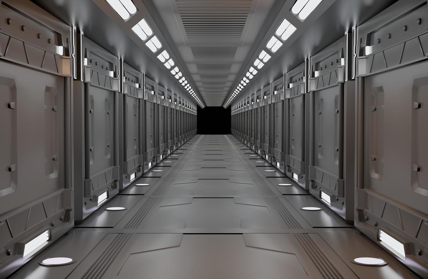 Spaceship metallic interior with view photo