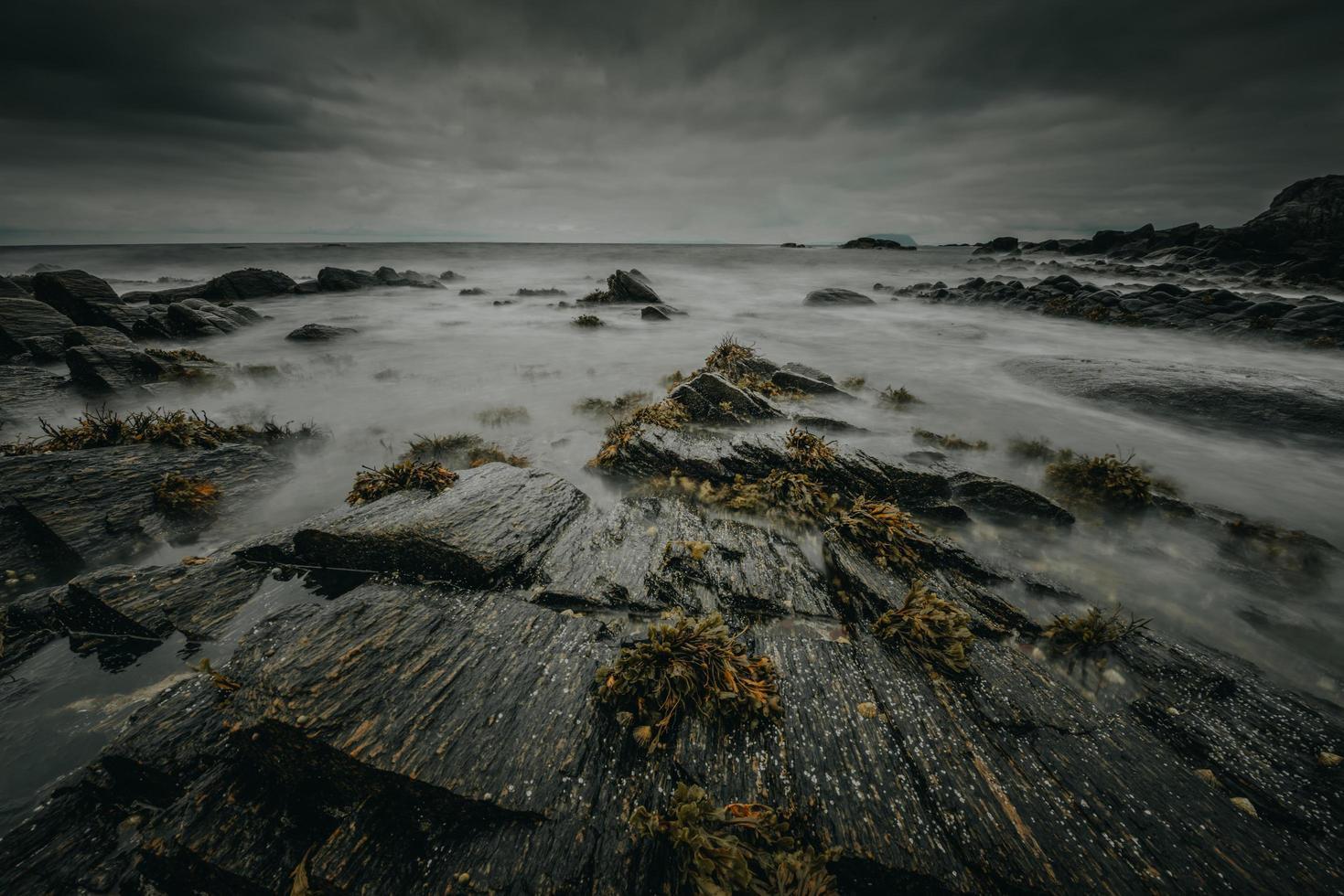 Dark stormy seashore photo