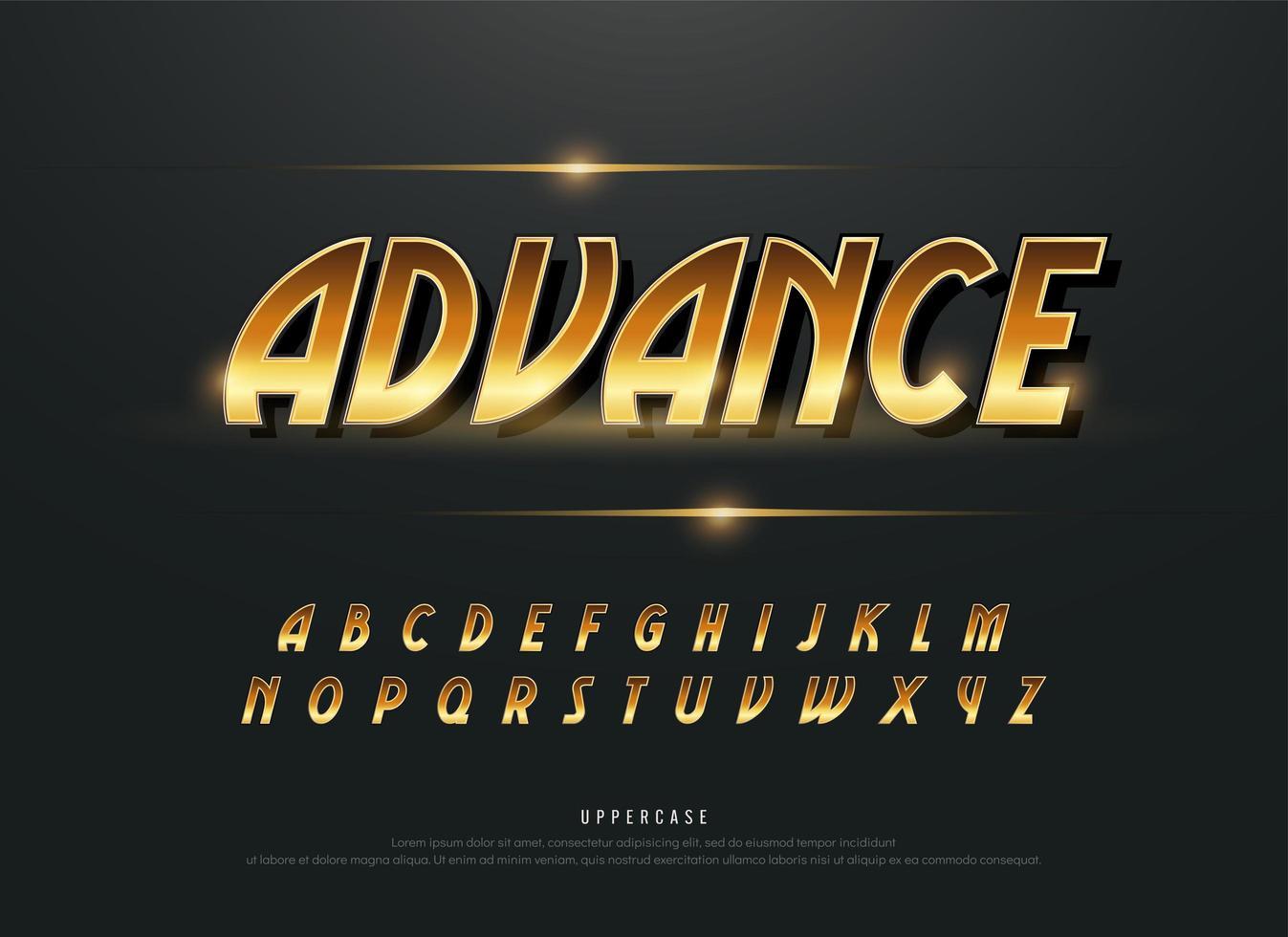 Alfabeto retro moderno conjunto de alfabeto metálico dorado vector