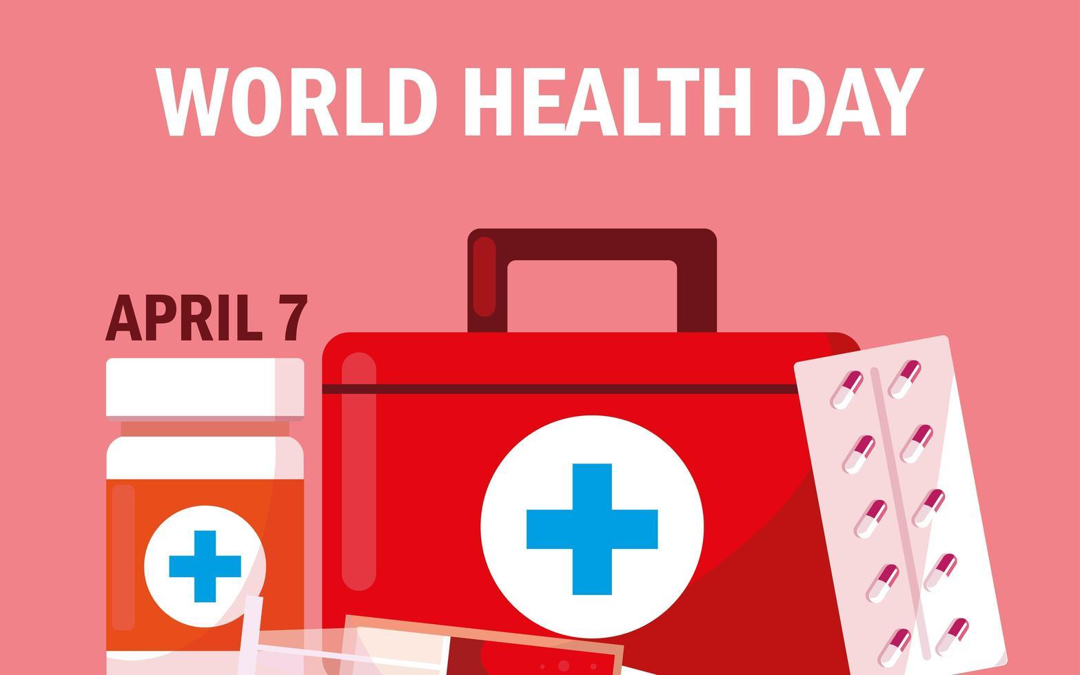 tarjeta del día mundial de la salud con botiquín de primeros auxilios vector