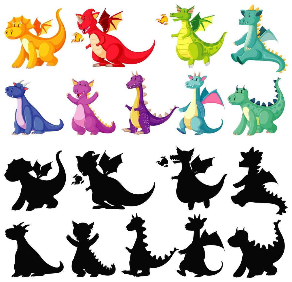 Dragons in color and silhouette vector