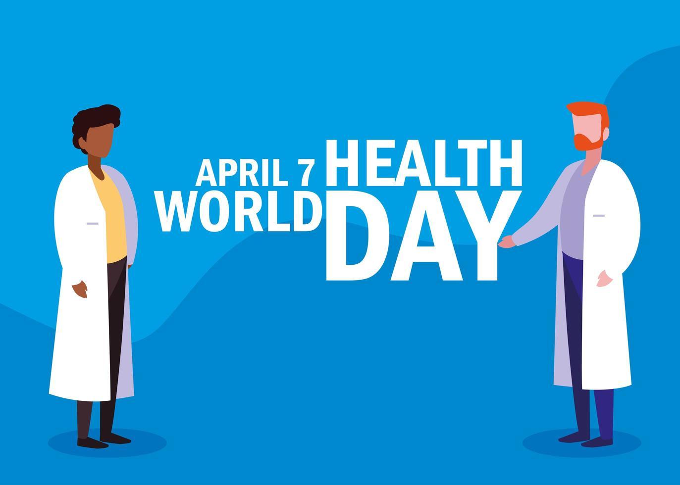 tarjeta del día mundial de la salud con médicos vector