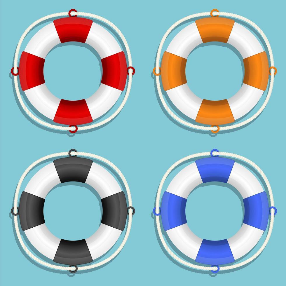 Life buoy set isolated  vector