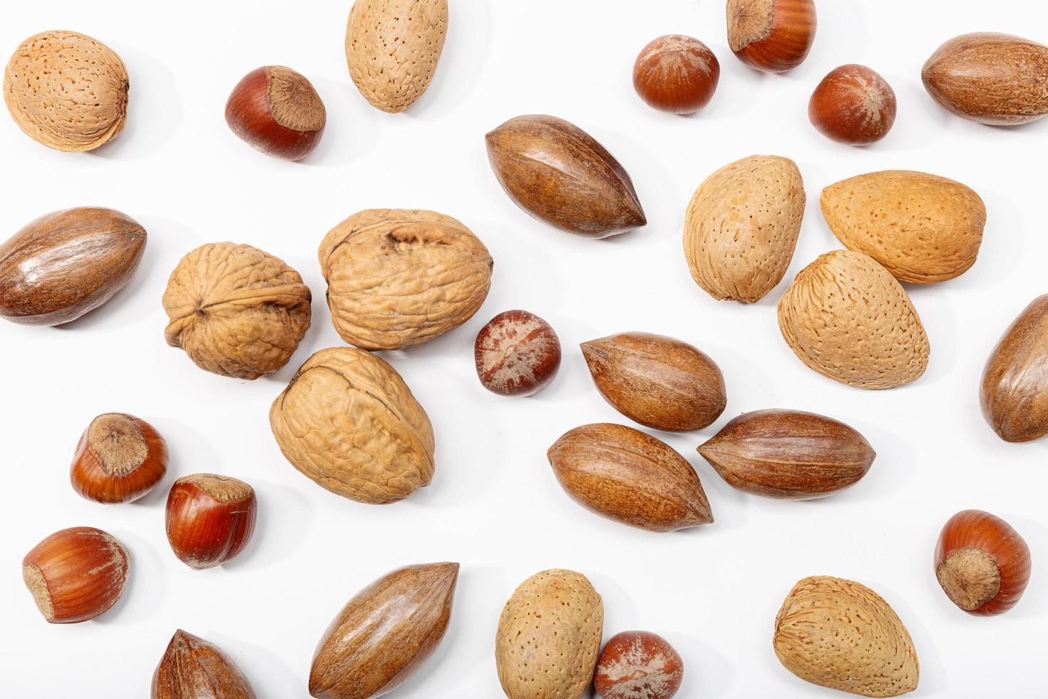 Una variedad de frutos secos sobre un fondo blanco. foto