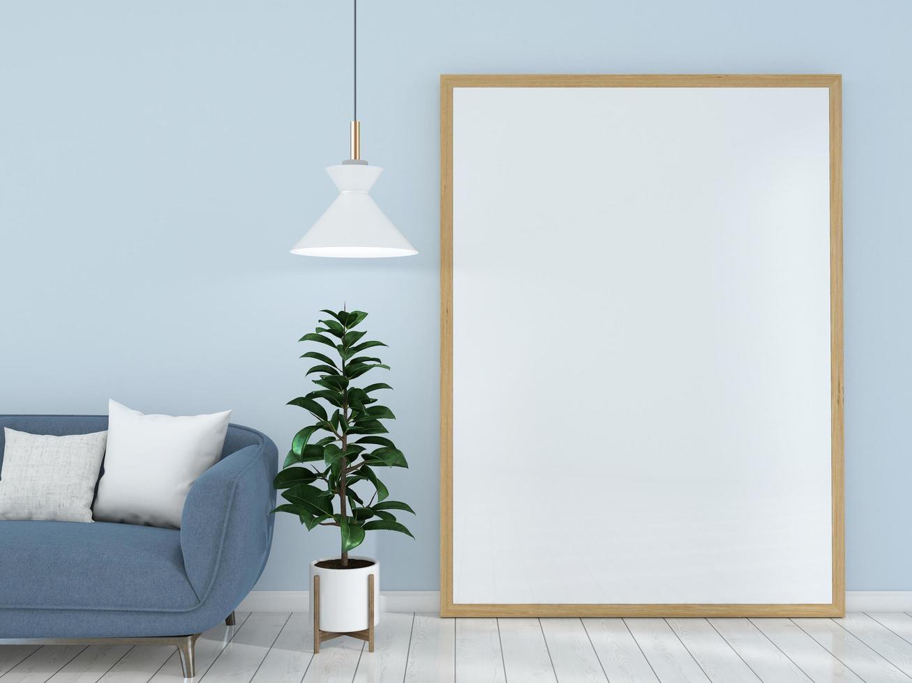 marco de imagen grande en la sala de estar azul foto
