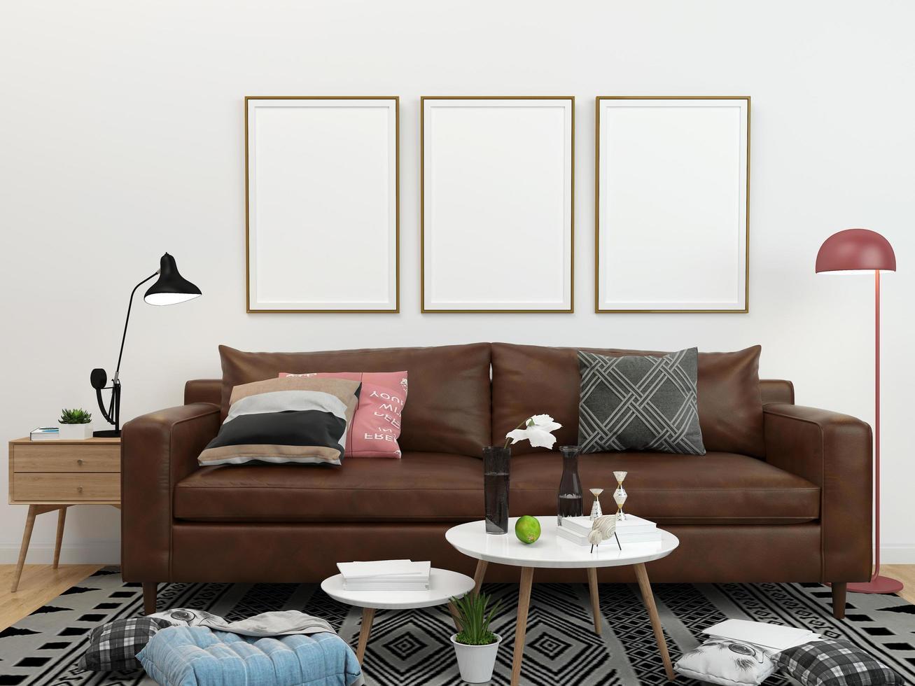 tres marcos vacíos en la sala de estar foto