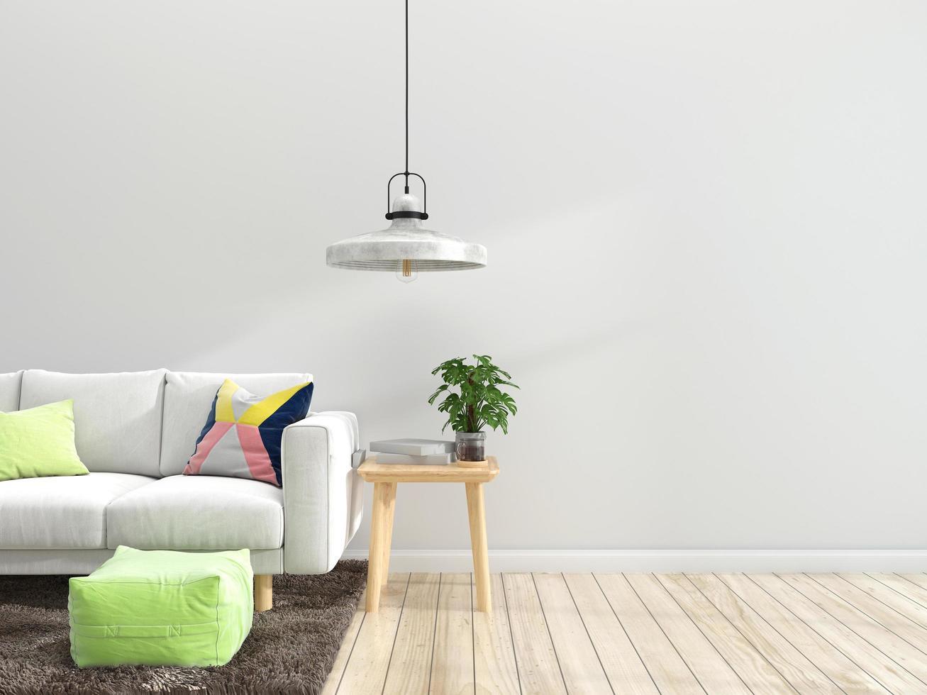 interior minimalista de la sala de estar foto