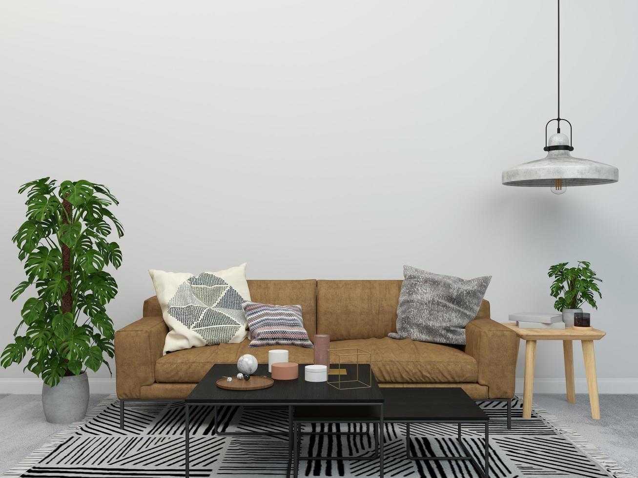 diseño de concepto de sala de estar de estilo minimalista y planta foto