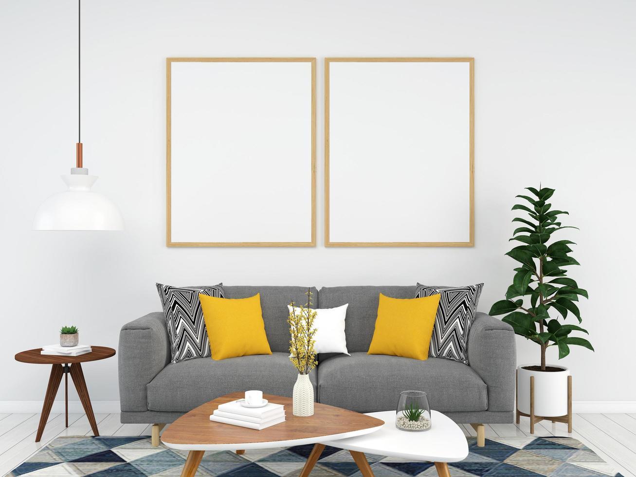 plantilla de marco de imagen en la sala de estar foto