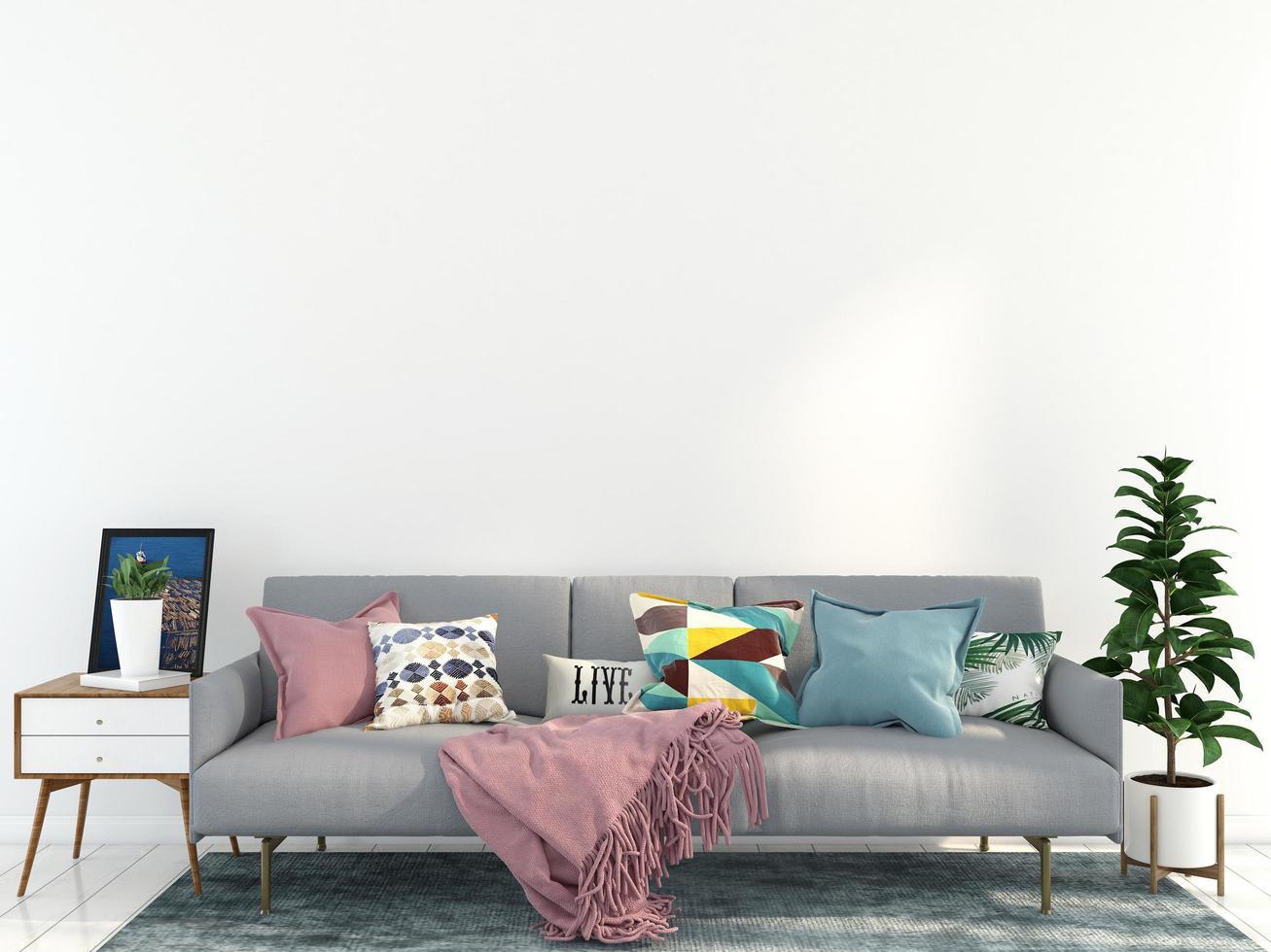 sofá gris en la sala de estar foto