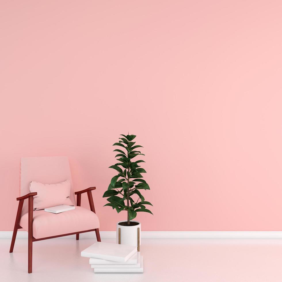 Silla rosa pastel en salón con libro foto