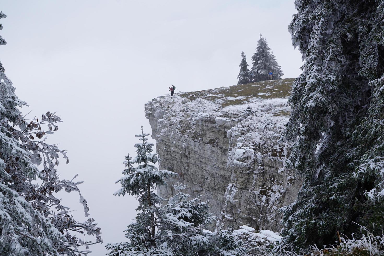 Hikers at the Creux Du Van photo