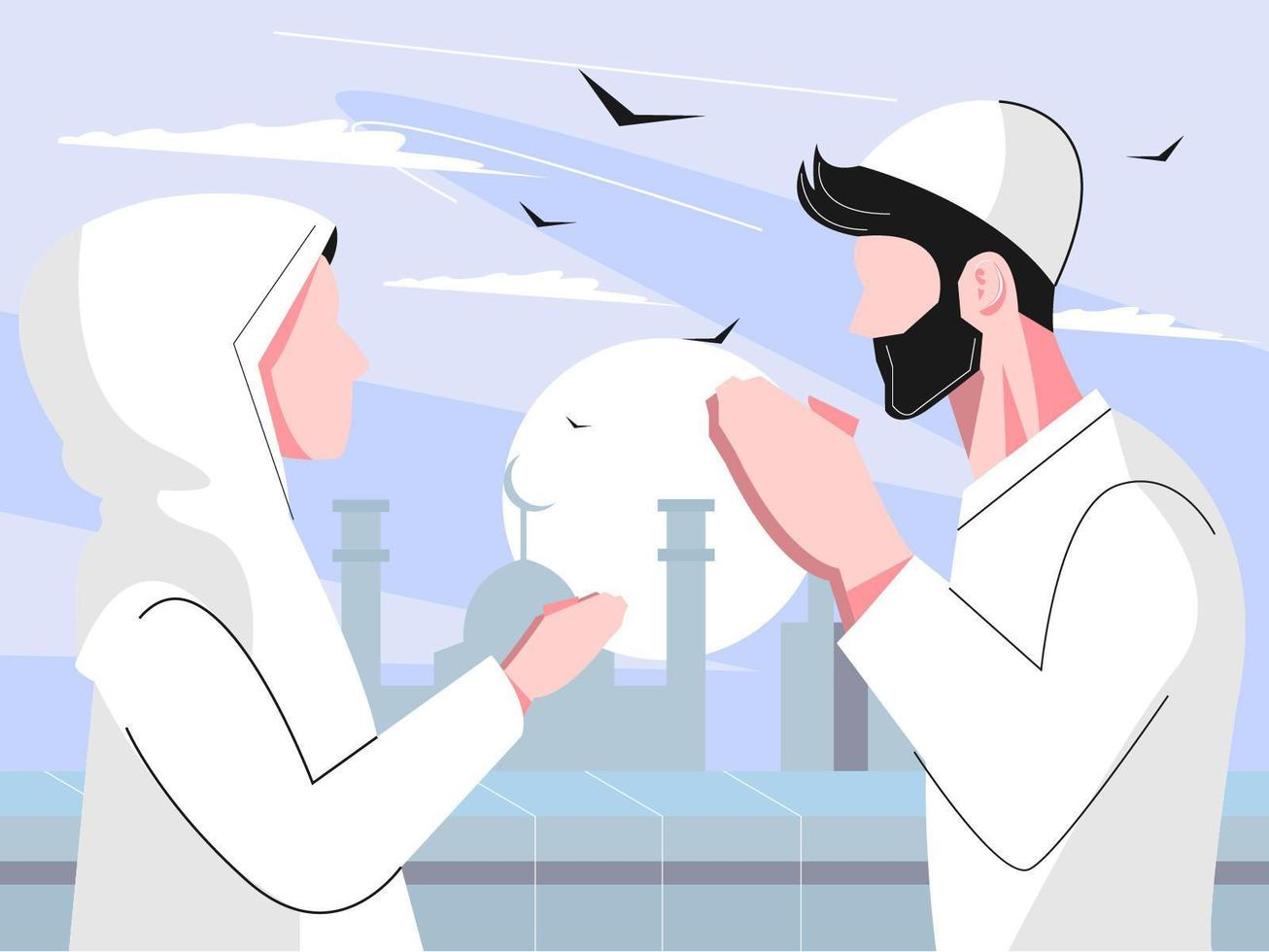 Flat Muslim Man and Woman Forgive vector