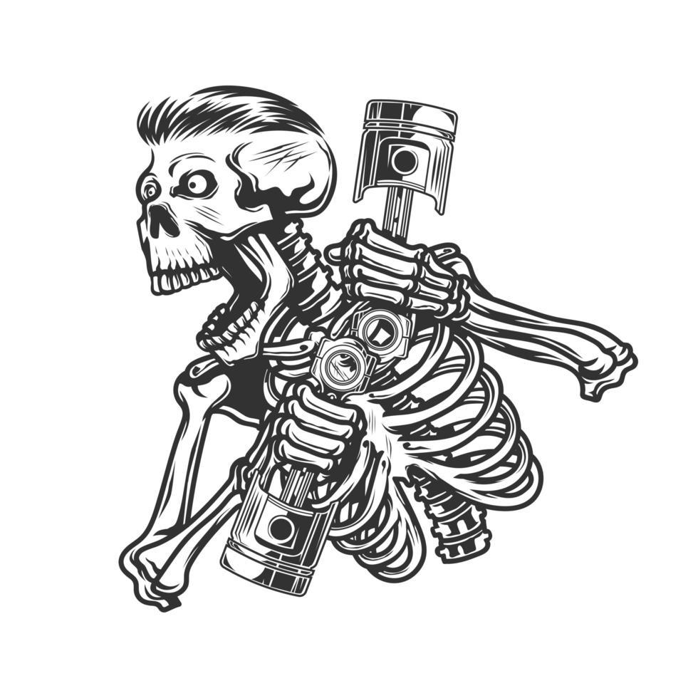 Cráneo rugiendo y sosteniendo pistones del motor vector
