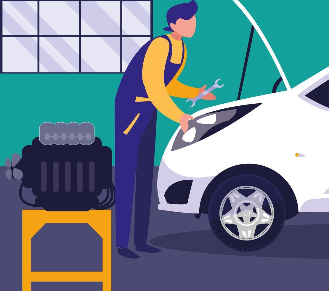 Mechanic repairing the car engine vector