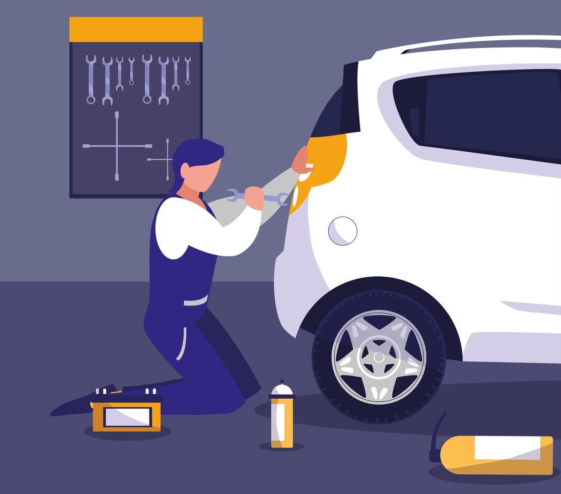 Mechanic repairing a car  vector
