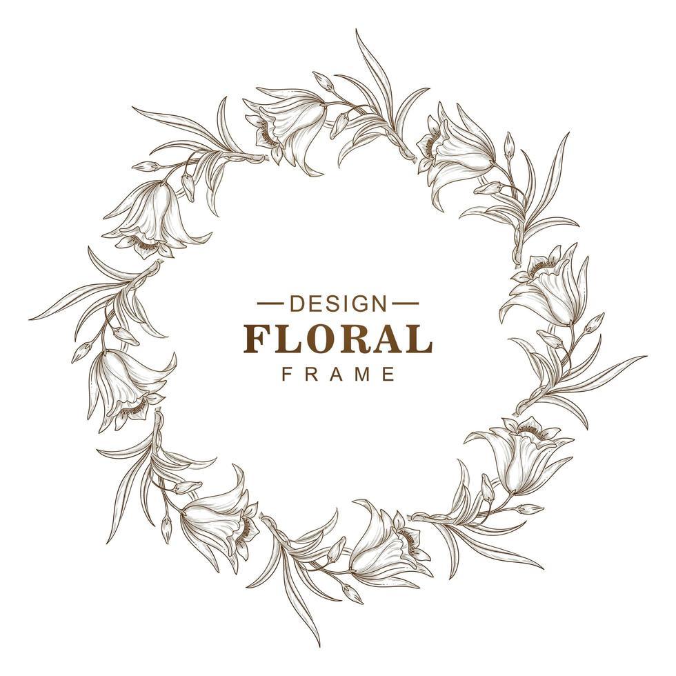 Abstract circular sketch flower frame design vector