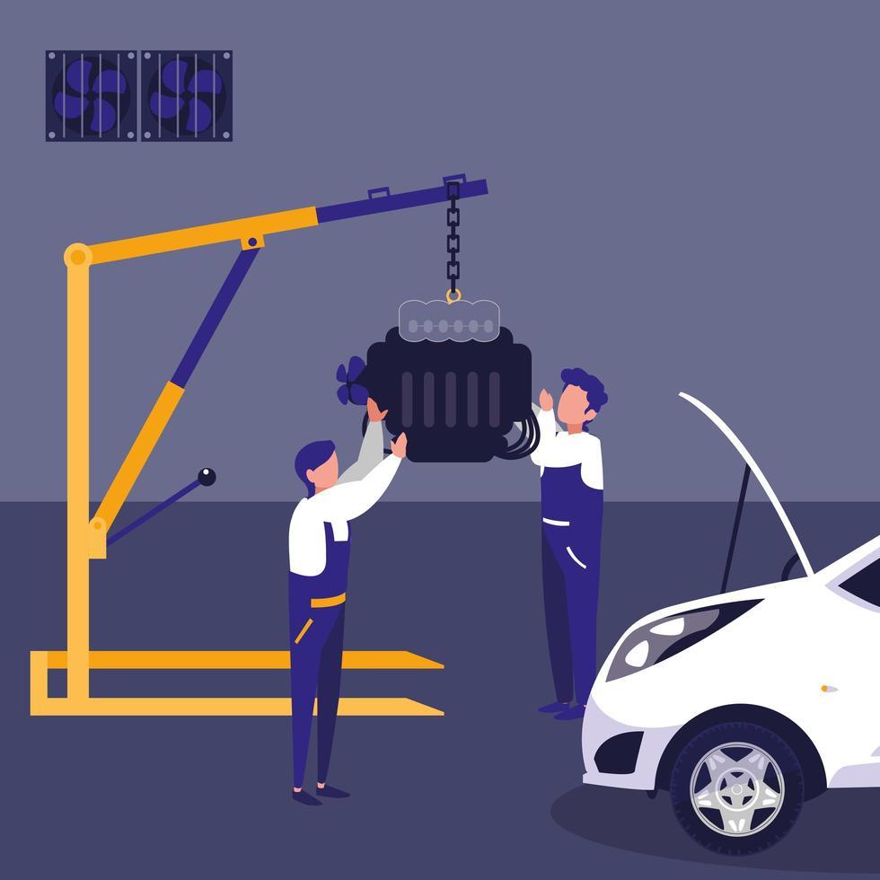 Car in maintenance workshop with mechanics team vector