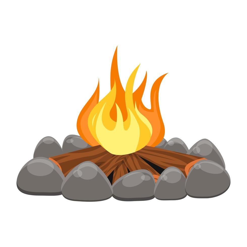 Camp fire isolated vector
