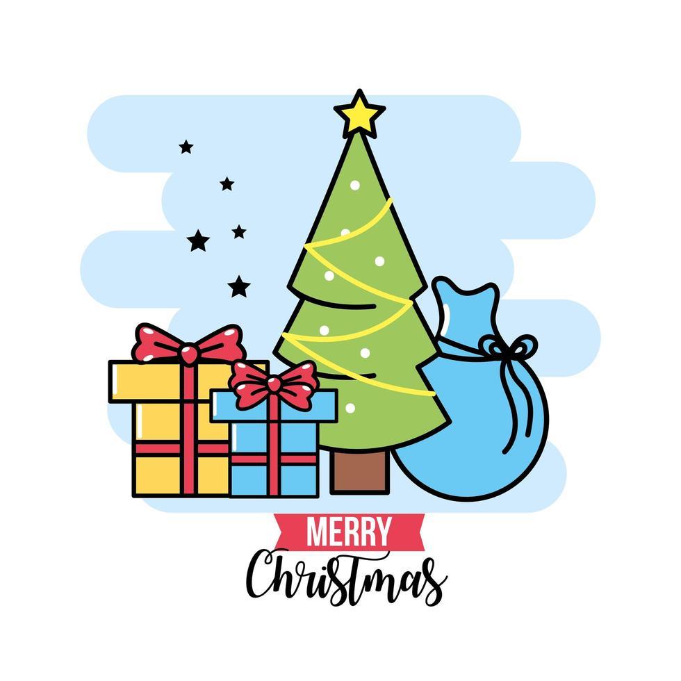 tarjeta de felicitación de los iconos de navidad vector