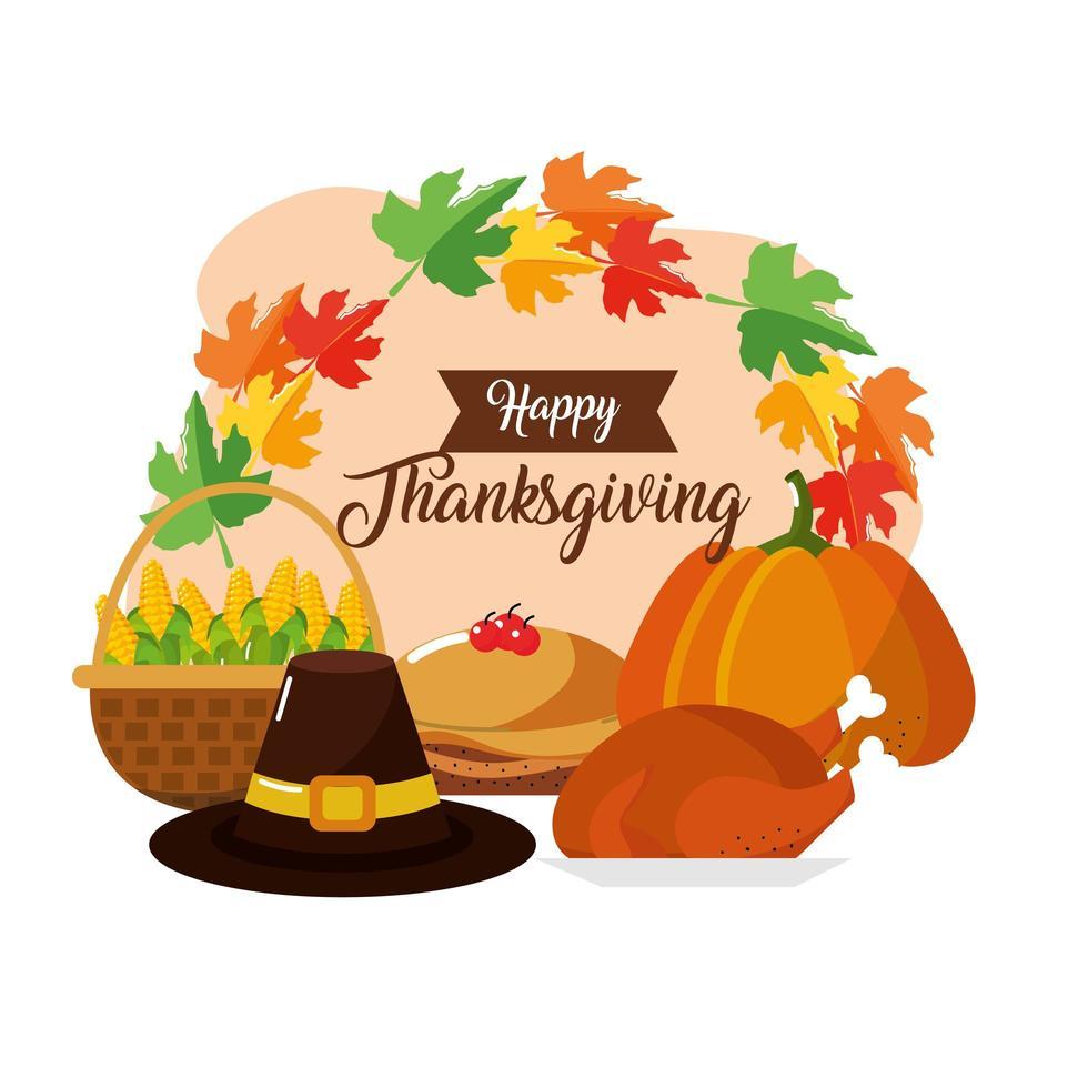 Thanksgiving food greeting card vector