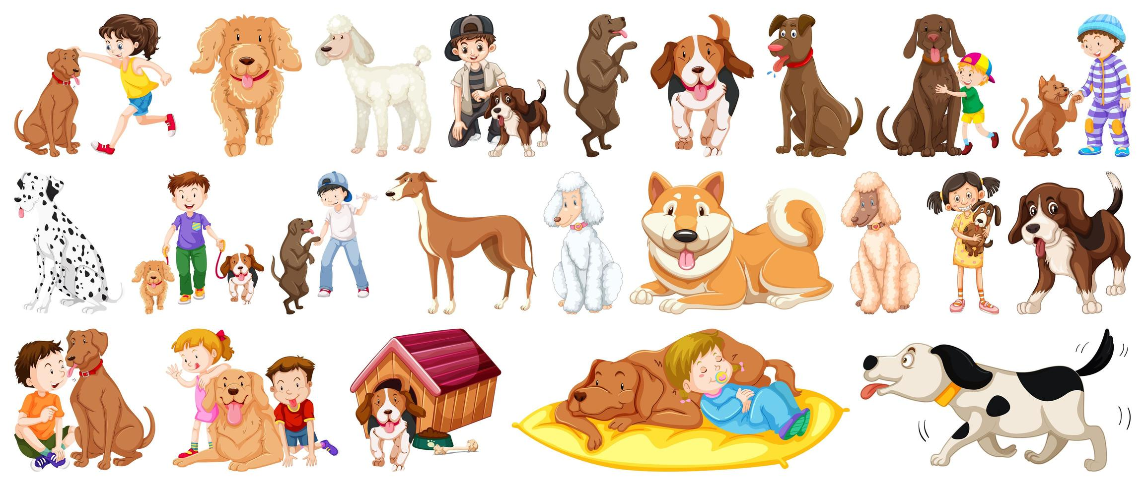 Set of dog and children elements   vector