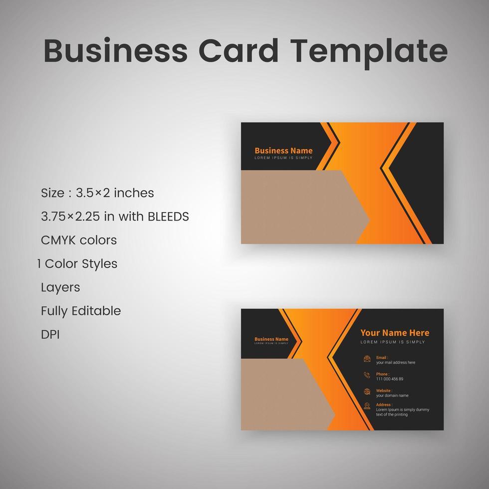 plantilla de tarjeta de visita creativa negra y naranja vector
