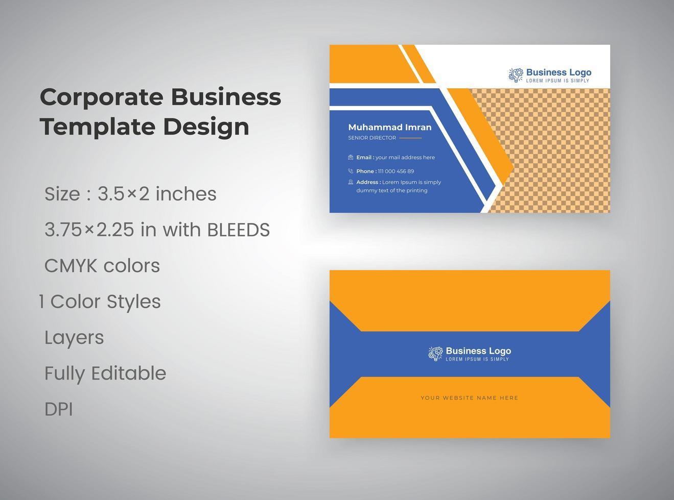 plantilla de tarjeta de visita corporativa profesional naranja y azul vector