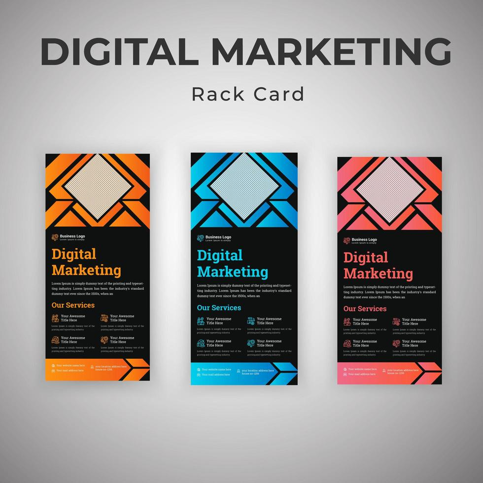 conjunto de tarjetas de rack de agencia consultora de marketing digital vector