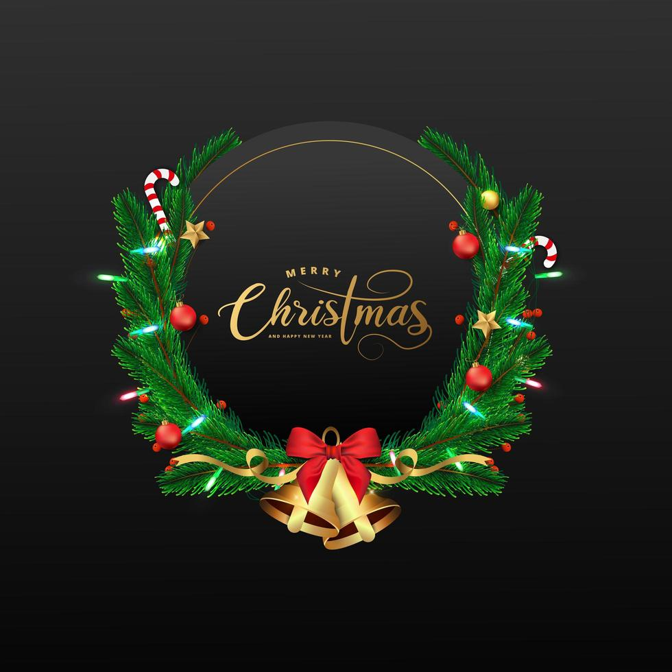 Christmas and New Year black frame with wreath vector