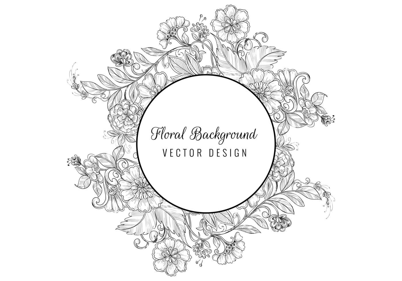 Vintage decorative sketch floral circle frame vector