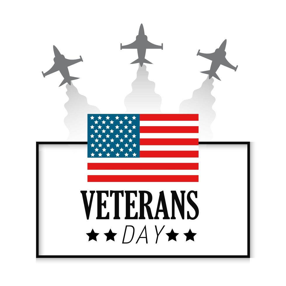 Veteran day celebration and flag and airplanes vector