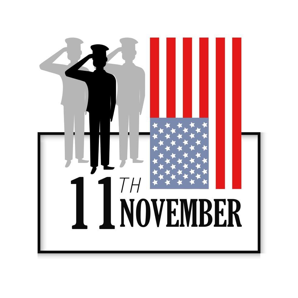 Veteran day celebration and flag vector