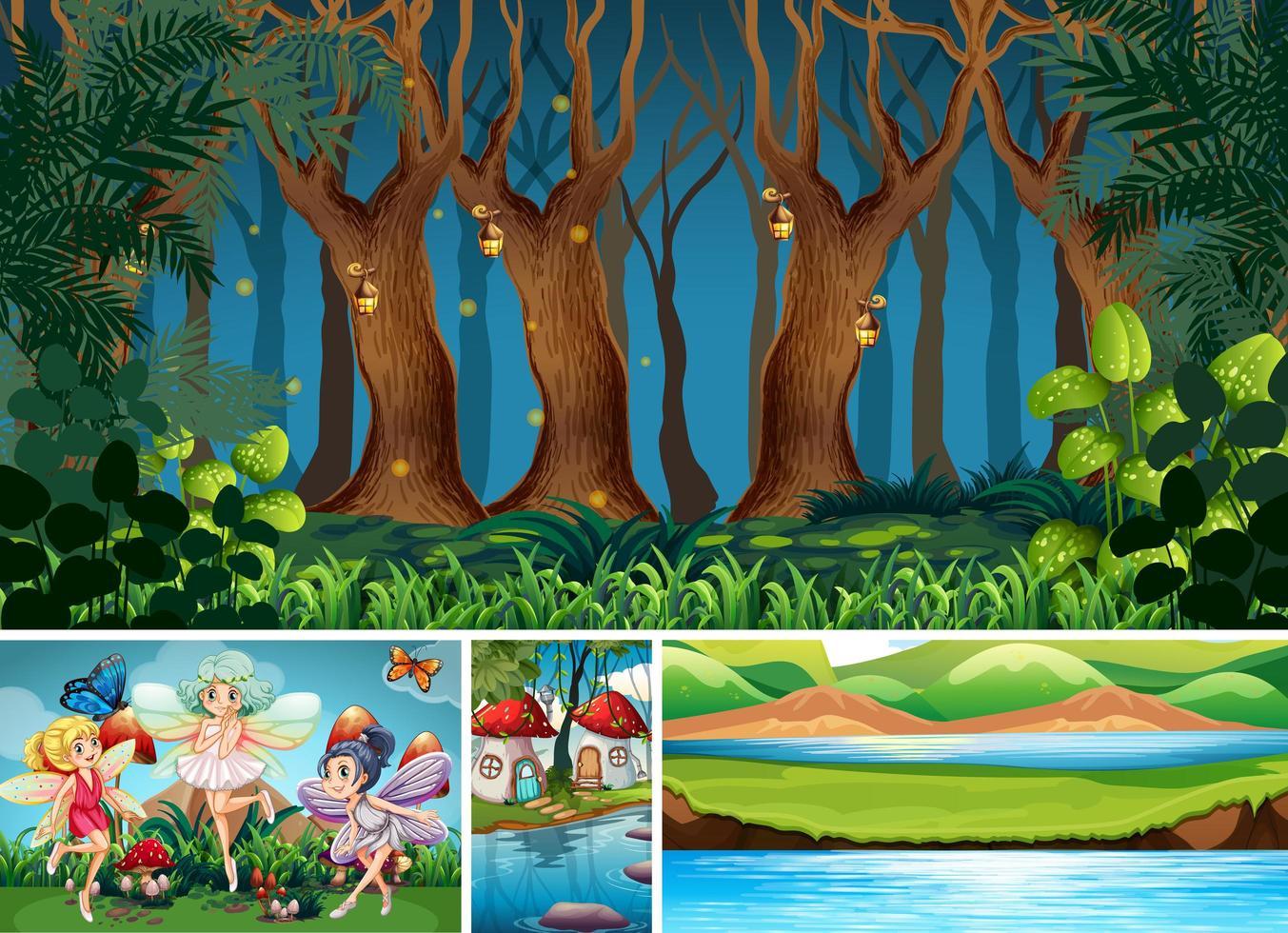 cuatro escenas diferentes del mundo de fantasía. vector