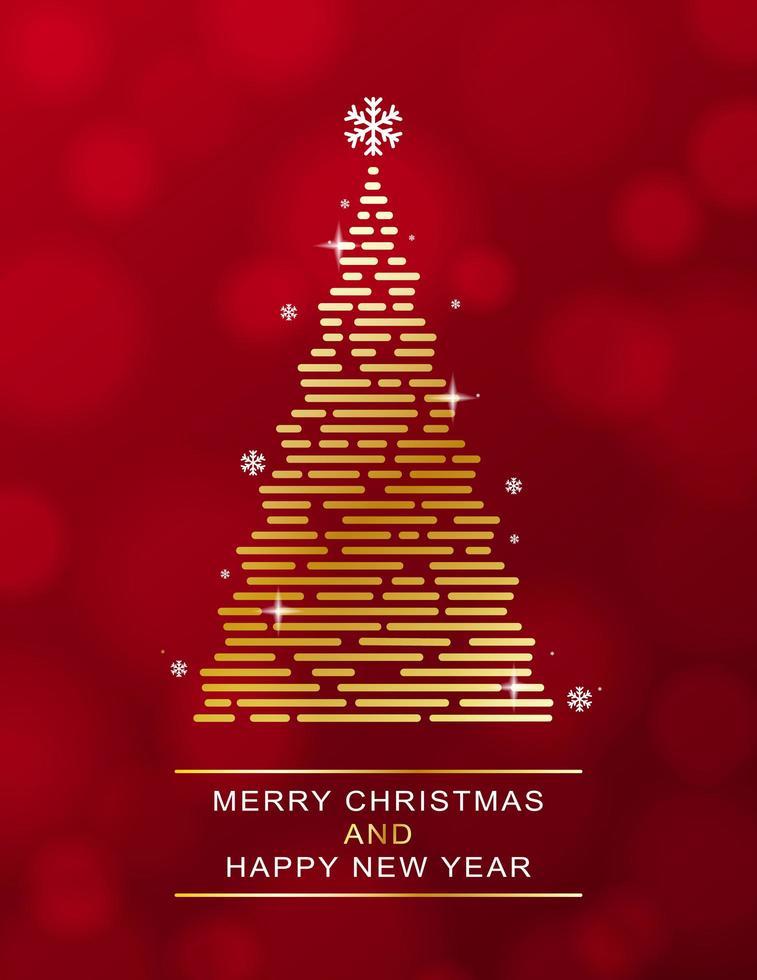 Golden christmas tree on red bokeh vector