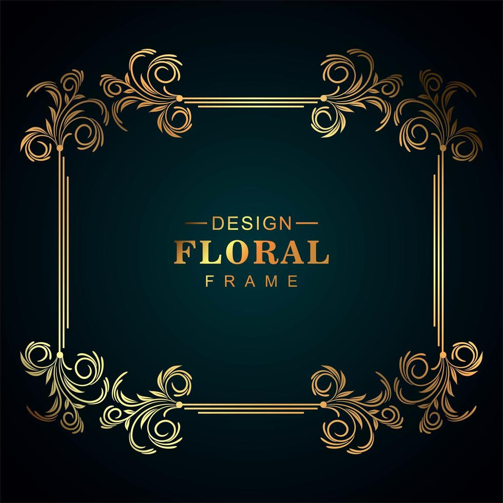Beautiful golden floral frame  vector