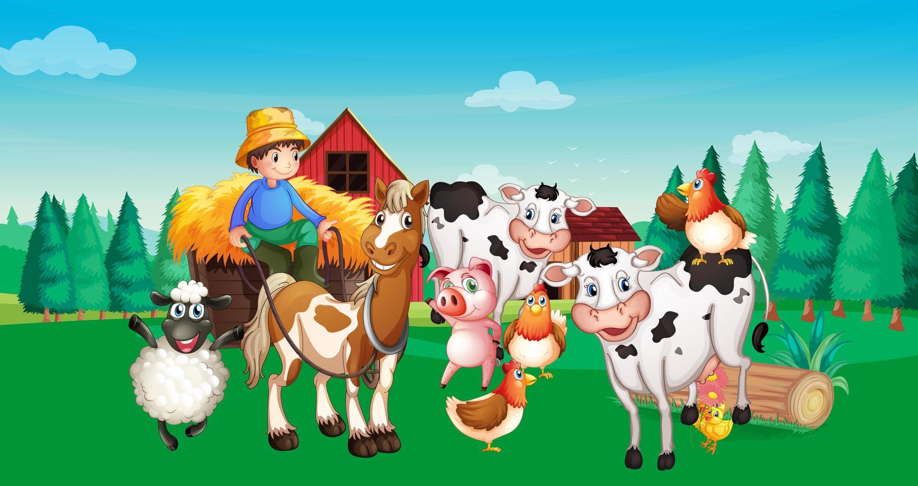 escena de la granja con animales de granja. vector