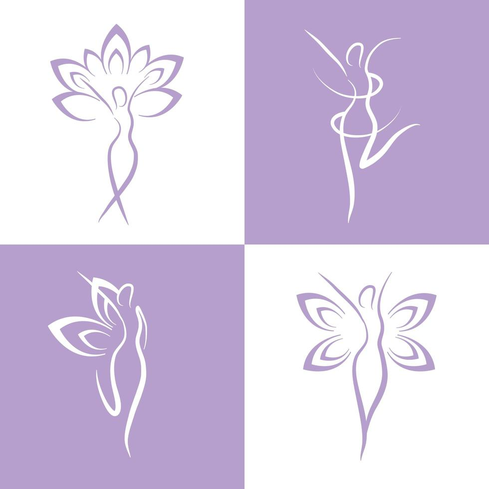 Set of wellness and therapy women icons vector