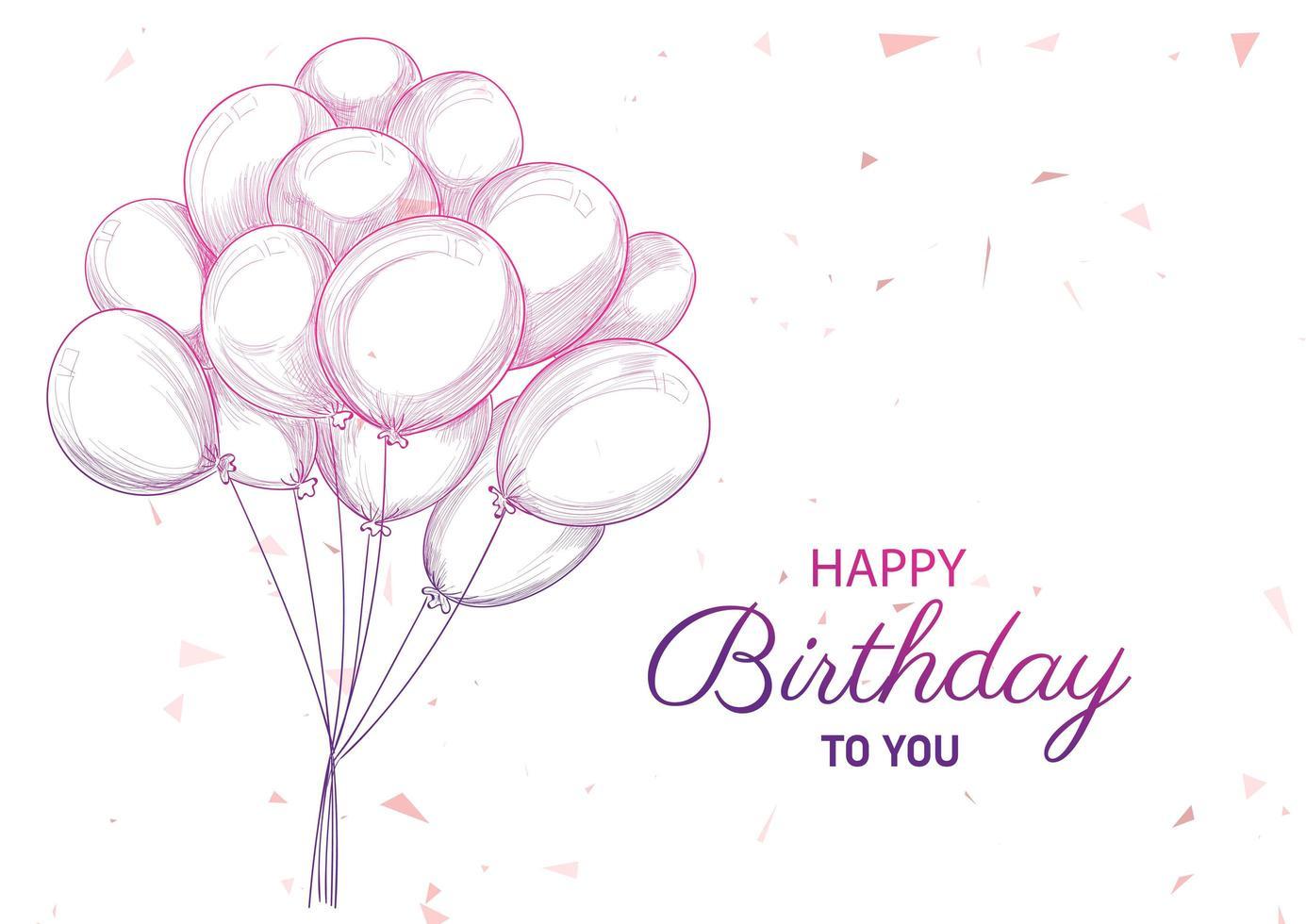cumpleaños dibujado a mano con globos vector