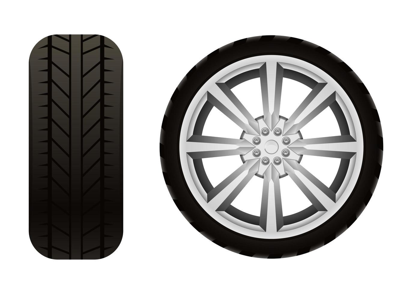 Neumático de coche aislado sobre fondo blanco. vector
