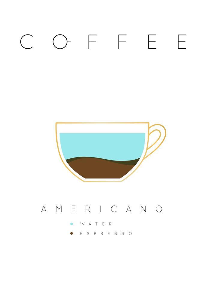 cartel de letras café americano con receta blanco vector
