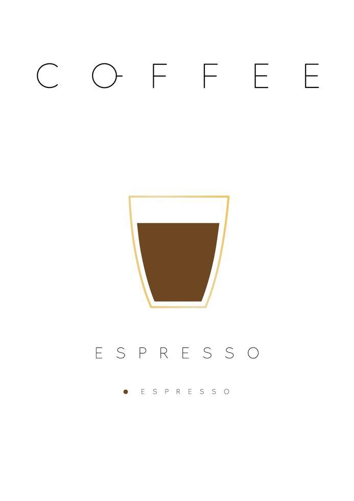 Cartel de letras café espresso con receta blanco vector