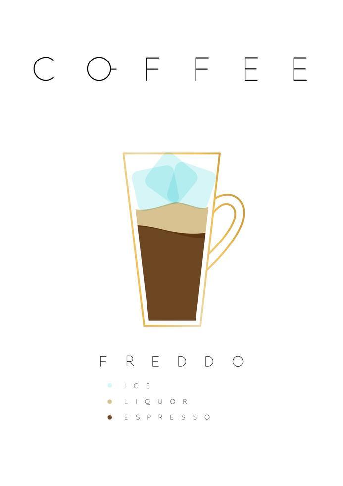 cartel de letras café freddo con receta blanco vector