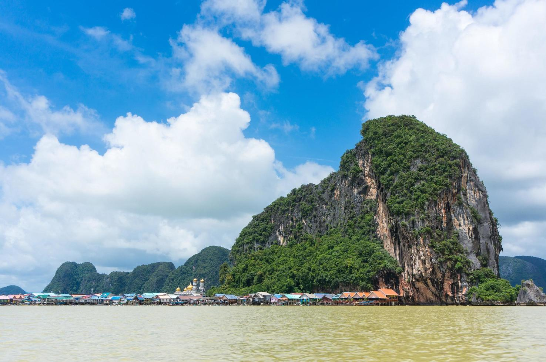 Natural limestone cliff photo